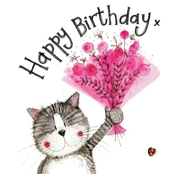 Glitzer Geburtstagskarte Pink Bouquet