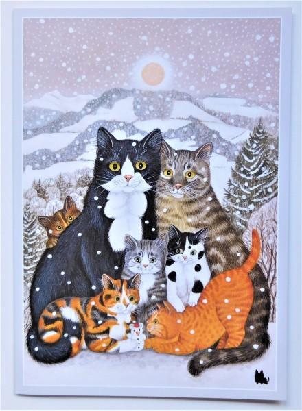 GB Große Klappkarte Katzenfamilie im Schnee