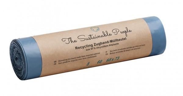 Recycling Zugband-Müllbeutel 60 Liter (Rolle mit 10 Stück)