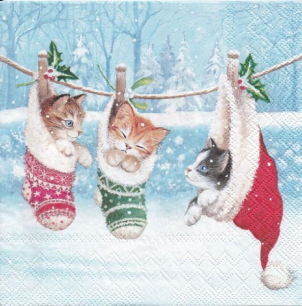 Servietten Kitten im Winterland