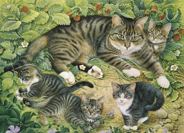 Künstler Klappkarte Gemma with her kittens