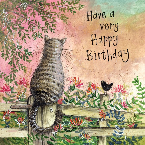 Honeysuckle Cat Birthday Card