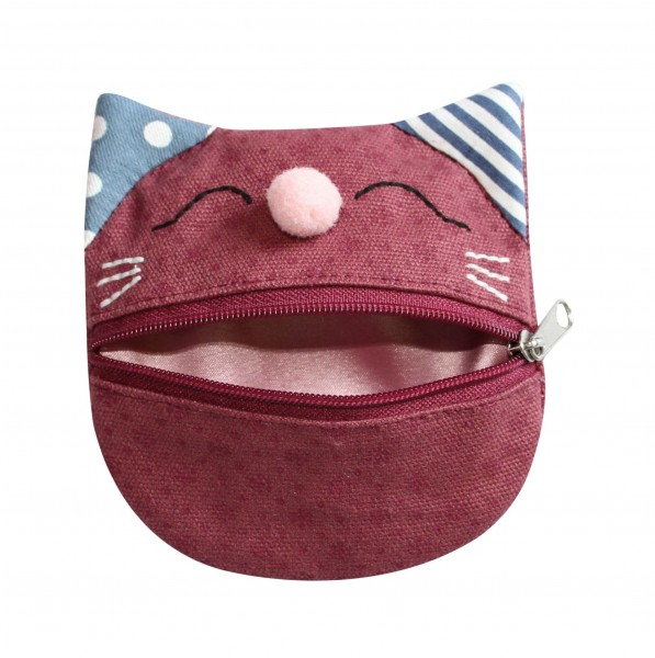 Canvas Cat Purse, red