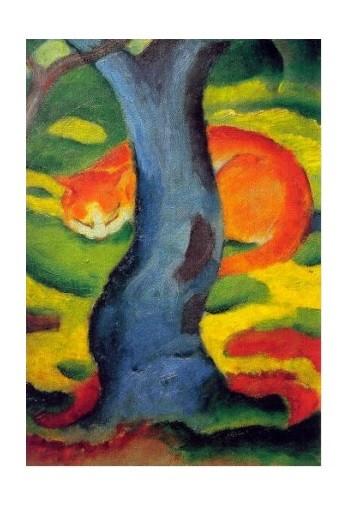 Klappkarte Franz Marc Katze unterm Baum