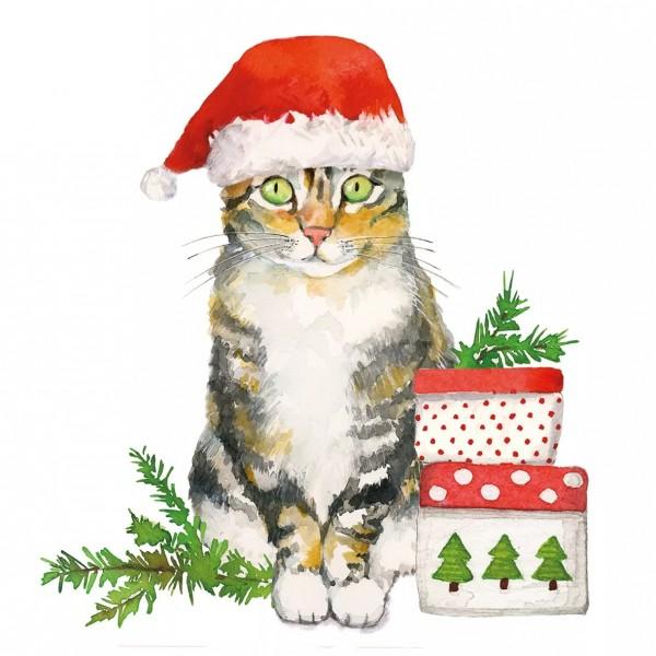 Servietten Christmas Kitty