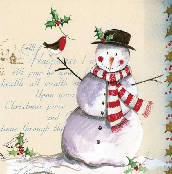 Weihnachtskarte Vintage Snowman