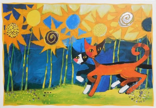 Rosina Wachtmeister Kunstpostkarte Sonnenblumen