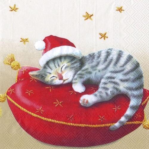 Napkins Santa Cat