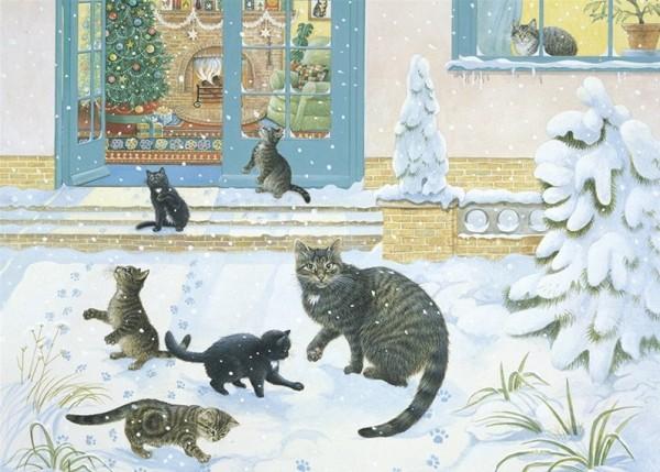 Künstler Klappkarte Muppet and her kittens in the snow