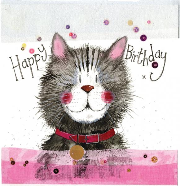 Cat & Collar Birthday Card