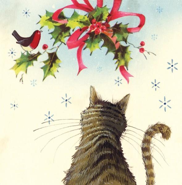 Weihnachtskarte Vintage Cat