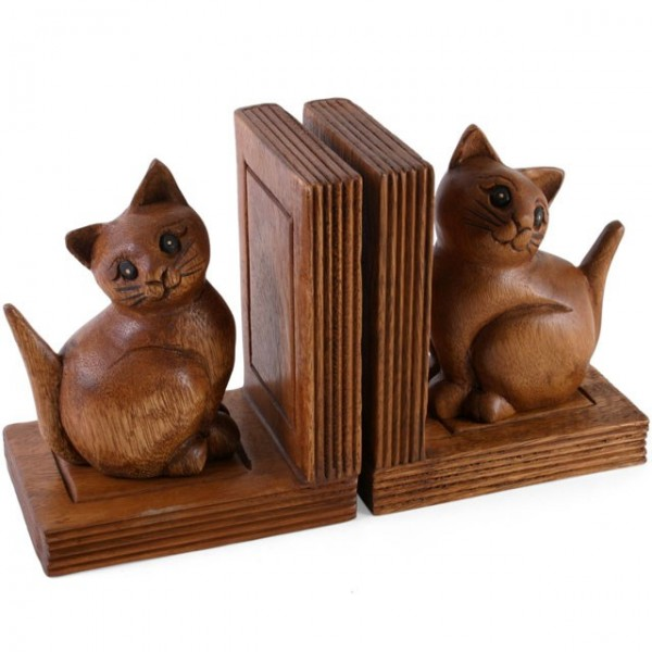 Buchstützenset Katze aus Holz