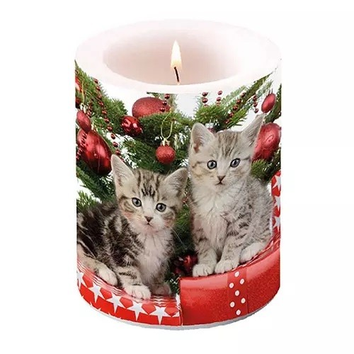 Christmas Candle Kitten, 12 cm