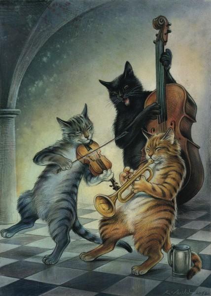 Postkarte Musikkatzen