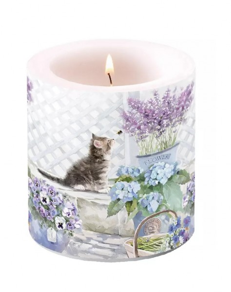 Candle Small Kitten and Bee, 9 cm