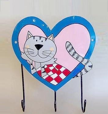 Metall-Haken Katze Herz blau