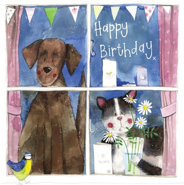Window Dog & Cat Birthday Card