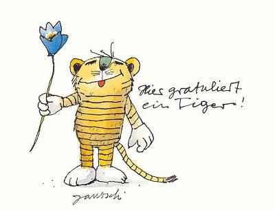Janosch Postkarte Tiger Gratuliert