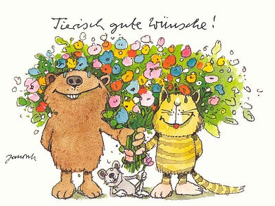 Janosch Postkarte Tierische Gute Wünsche