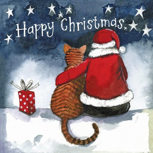 Weihnachtskarte Cat and Santa