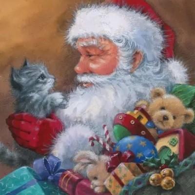 Servietten Santa With Kitten