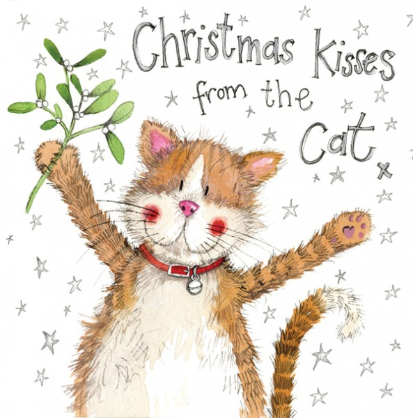 Weihnachtskarte Kisses from the Cat