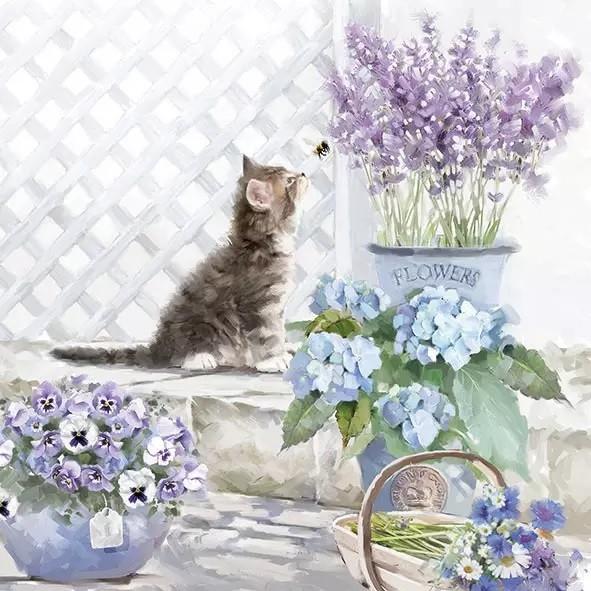 Napkins Kitten und Bienchen