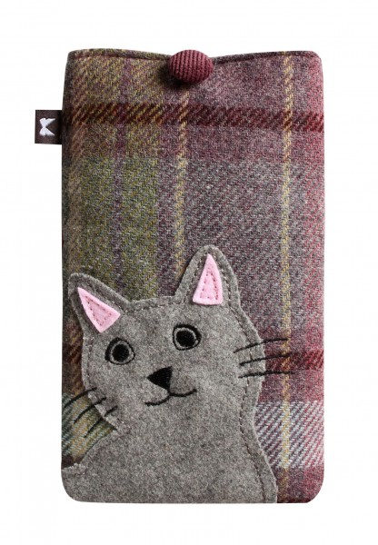 Tweed Cat Eyeglass Case, grey