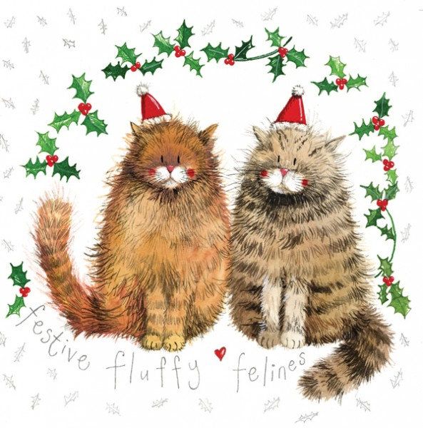 Weihnachtskarte Fluffy Felines