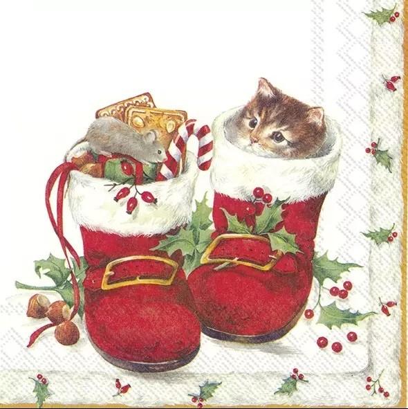Napkins Christmas Boots